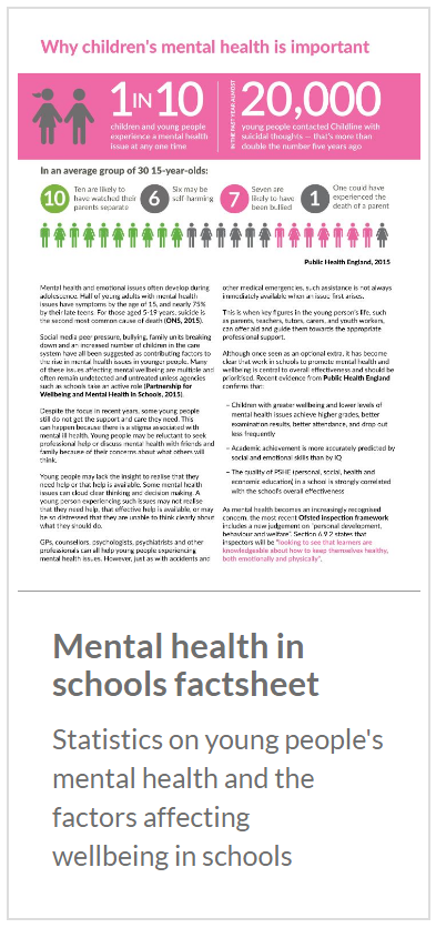 Mental health in schools factsheet. Statistics on young people's mental health and the factors affecting wellbeing in schools.