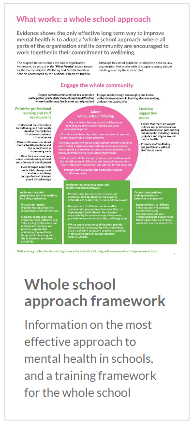 Whole school approach framework: Information on the most effective approach to mental health in schools, and a training framework for the whole school