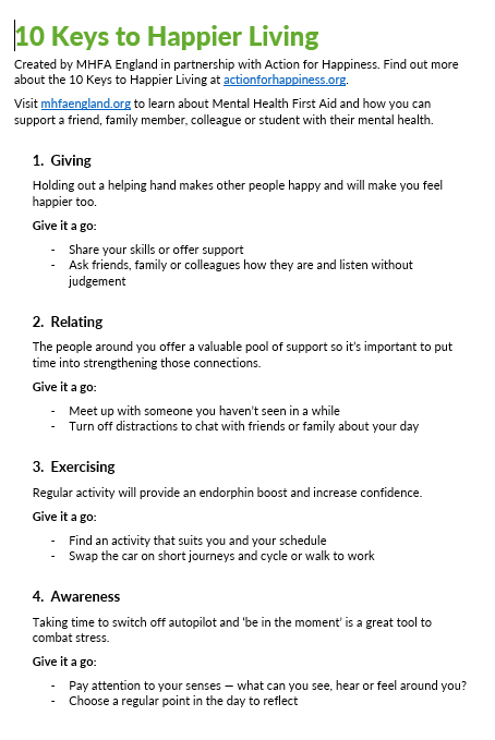 Poster - 10 Keys to Happier Living text only