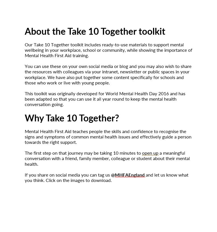 About the Take 10 Together toolkit