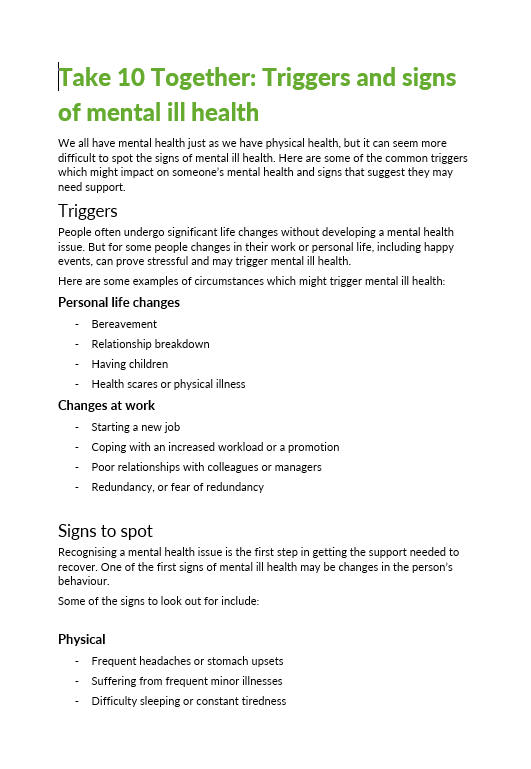 Poster - Triggers and Signs of Mental Ill Health text only